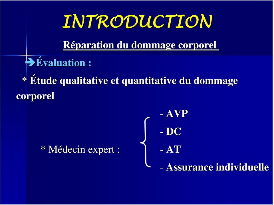 dommage corporel INTRODUCTION - AVP - DC *