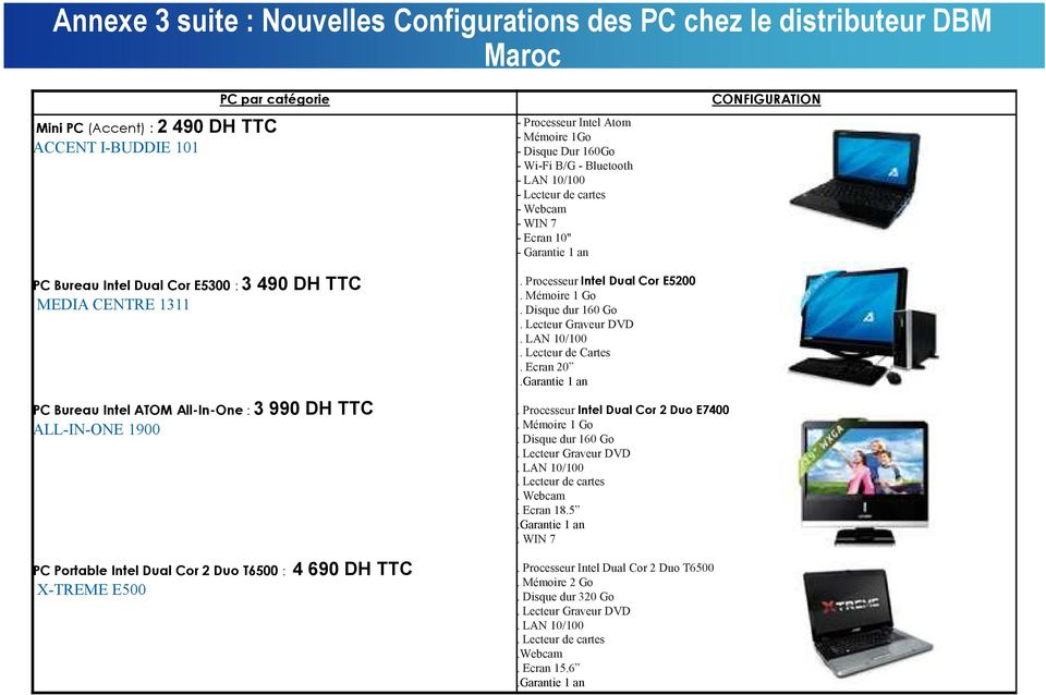 All-In-One : 3 990 DH TTC ALL-IN-ONE 1900 PC Portable Intel Dual Cor 2 Duo T6500 : 4 690 DH TTC X-TREME E500. Processeur Intel Dual Cor E5200. Mémoire 1 Go. Disque dur 160 Go.