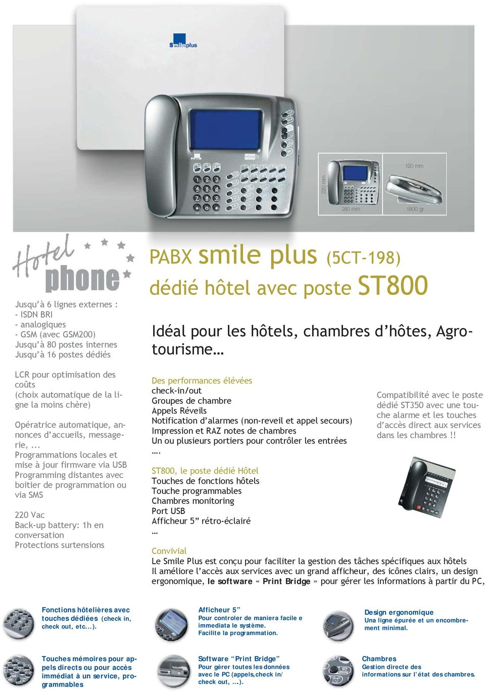 .. Programmations locales et mise à jour firmware via USB Programming distantes avec boitier de programmation ou via SMS 220 Vac Back-up battery: 1h en conversation Protections surtensions PABX smile