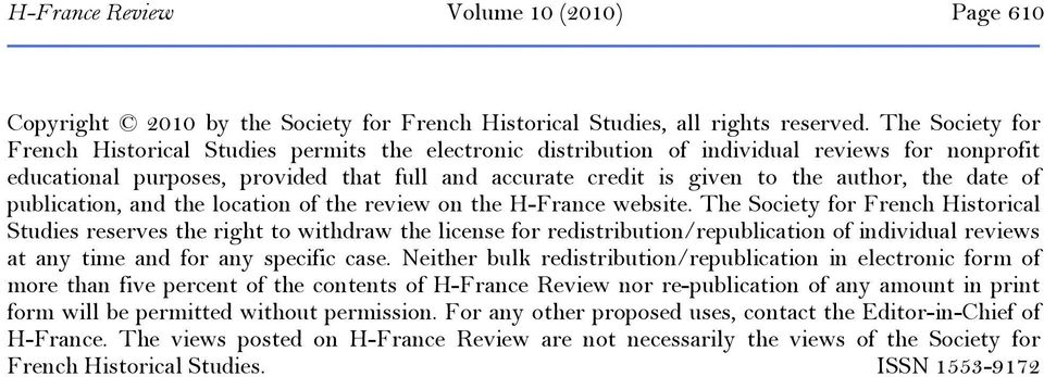 the date of publication, and the location of the review on the H-France website.