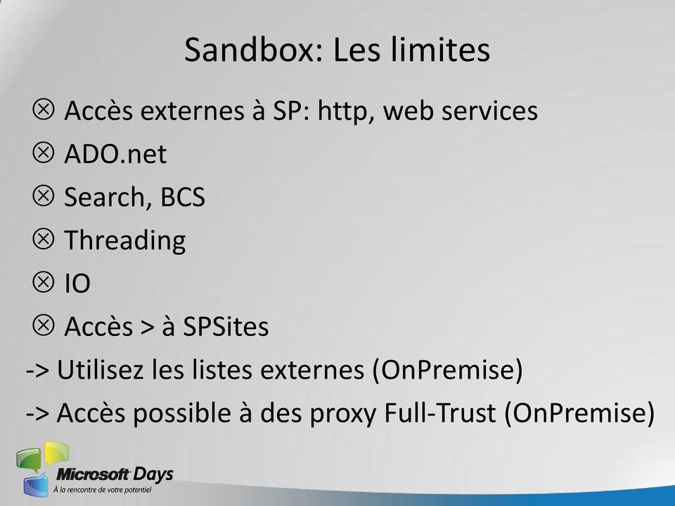 net Search, BCS Threading IO Accès > à SPSites ->