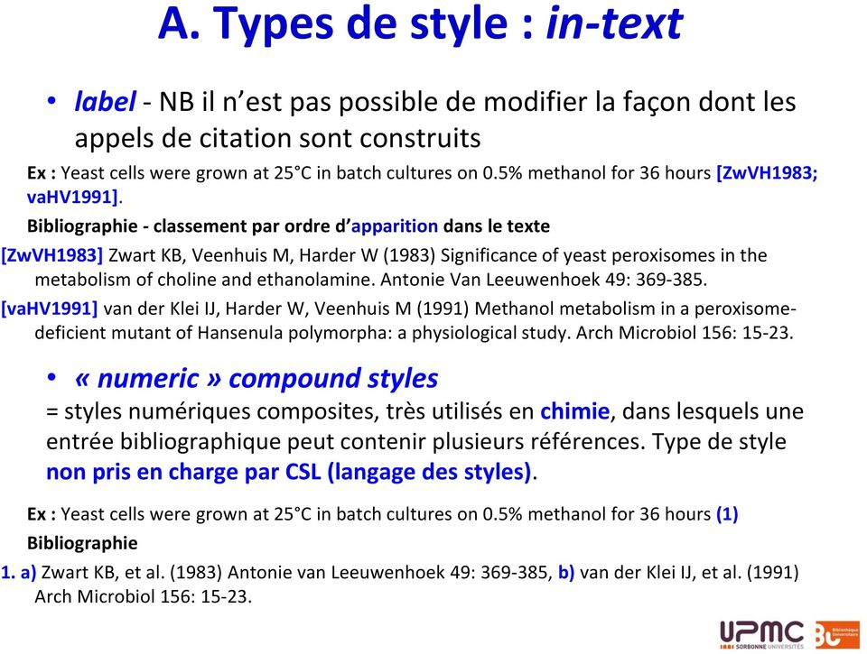 Bibliographie - classement par ordre d apparition dans le texte [ZwVH1983] Zwart KB, Veenhuis M, Harder W (1983) Significance of yeast peroxisomes in the metabolism of choline and ethanolamine.