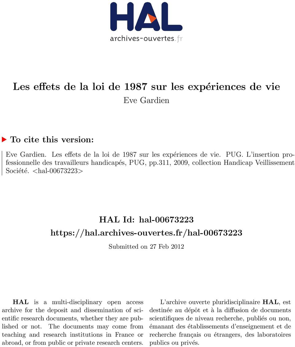 fr/hal-00673223 Submitted on 27 Feb 2012 HAL is a multi-disciplinary open access archive for the deposit and dissemination of scientific research documents, whether they are published or not.