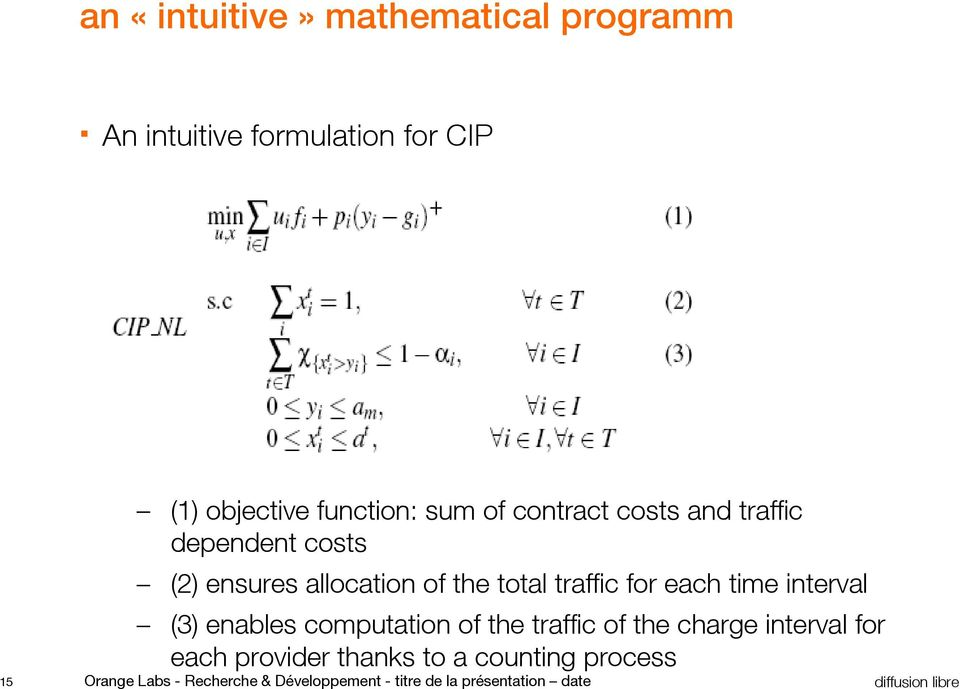 time interval (3) enables computation of the traffic of the charge interval for each provider