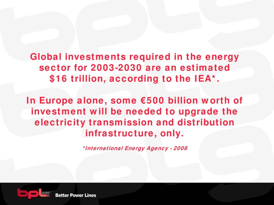 In Europe alone, some 500 billion worth of investment will be needed to