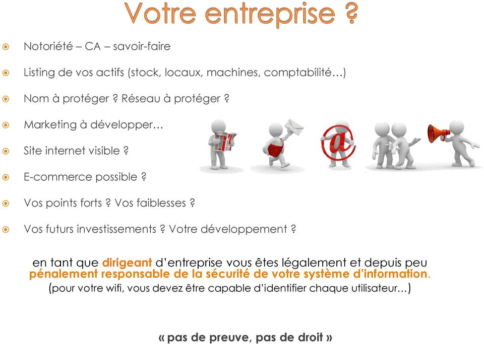 (stock, locaux, machines, comptabilité ) Nom à protéger? Réseau à protéger? Marketing à développer Site internet visible? E-commerce possible?