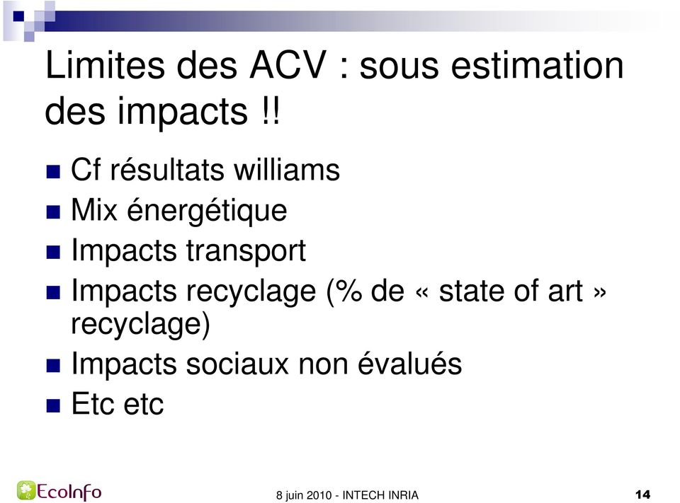 transport Impacts recyclage (% de «state of art»
