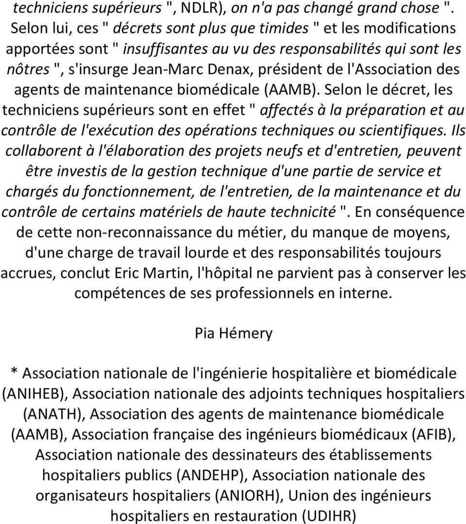 l'association des agents de maintenance biomédicale (AAMB).