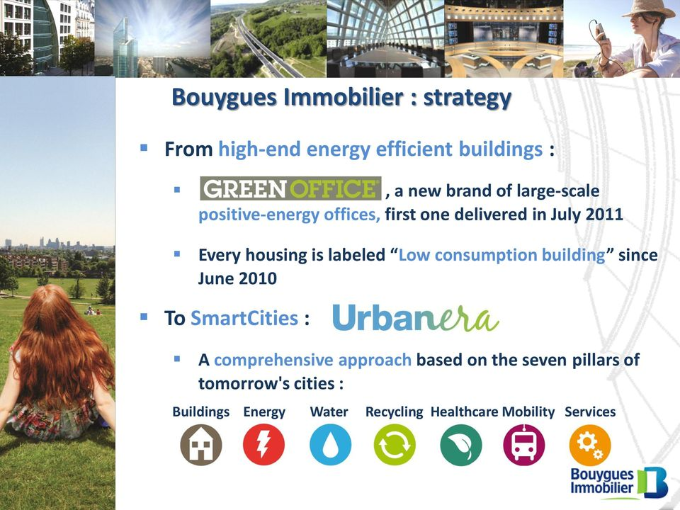 Low consumption building since June 2010 To SmartCities : A comprehensive approach based on
