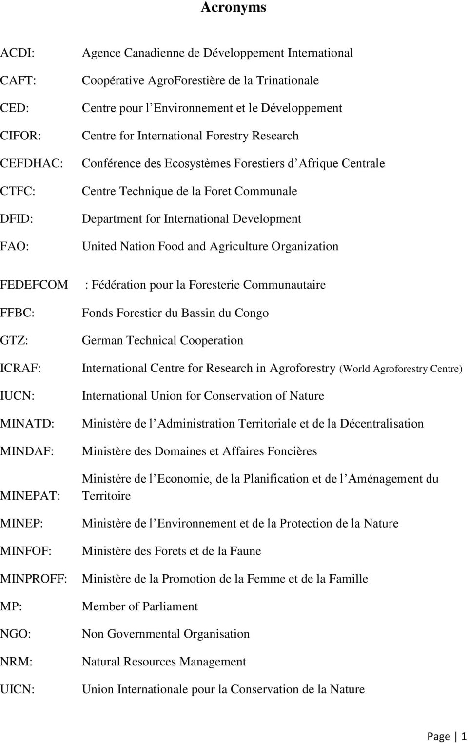 United Nation Food and Agriculture Organization FEDEFCOM FFBC: GTZ: ICRAF: IUCN: MINATD: MINDAF: MINEPAT: MINEP: MINFOF: MINPROFF: MP: NGO: NRM: UICN: : Fédération pour la Foresterie Communautaire