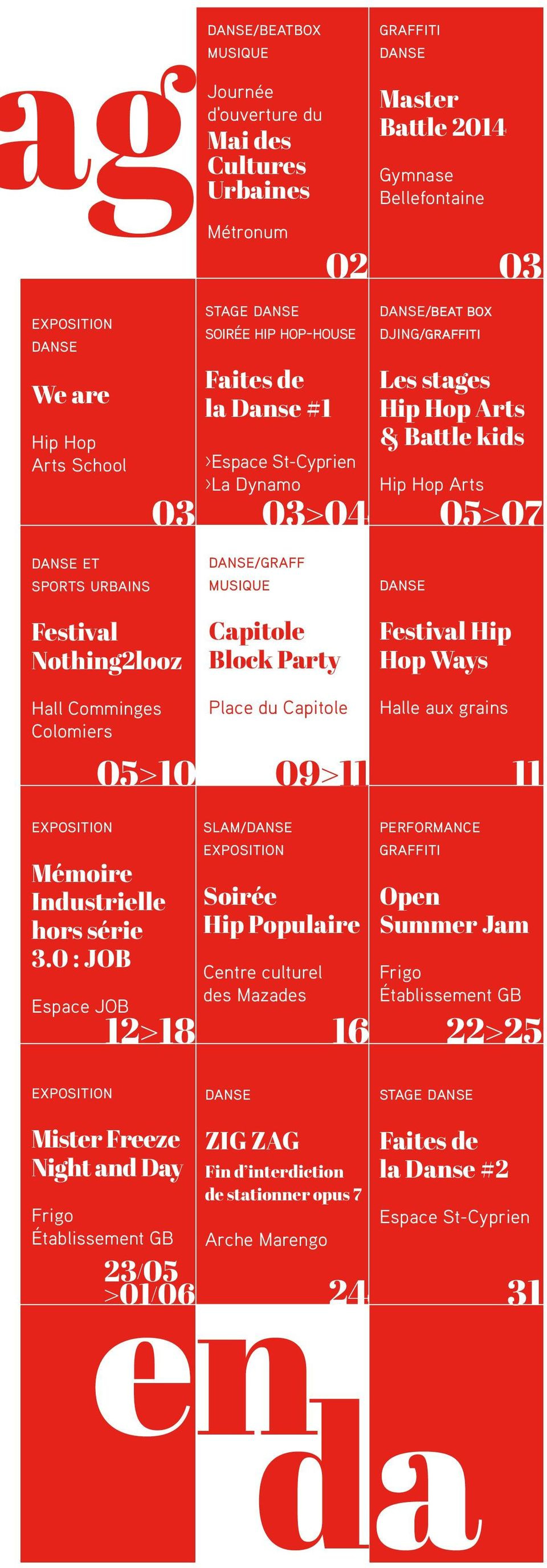 Arts 03 03>04 05>07 danse Festival Nothing2looz Capitole Block Party Festival Hip Hop Ways Hall Comminges Colomiers exposition Mémoire Industrielle hors série 3.