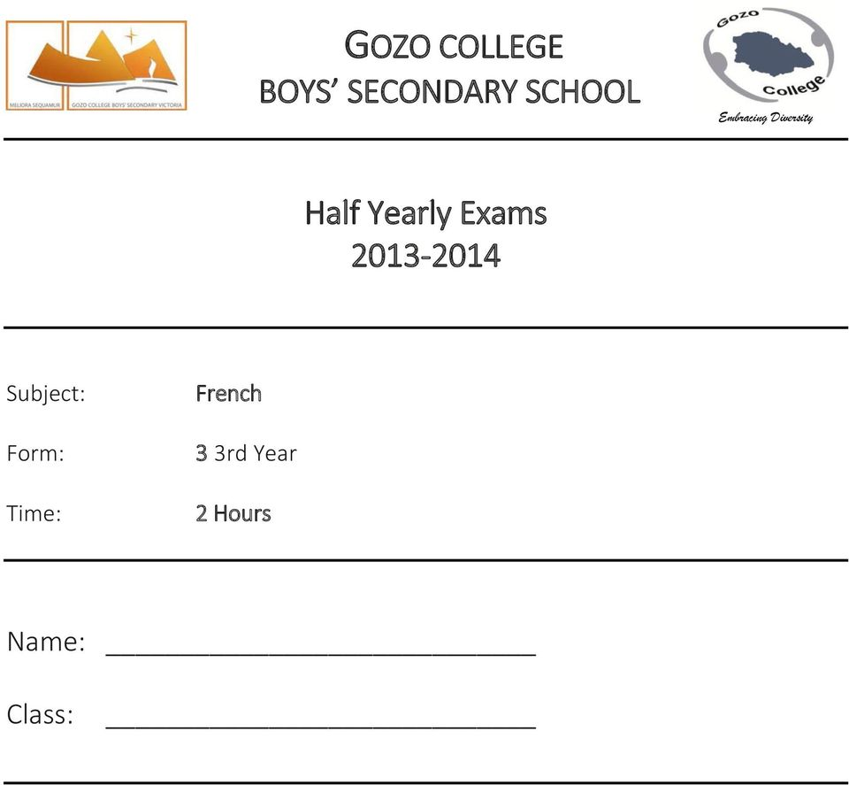 Exams 2013-2014 Subject: Form: