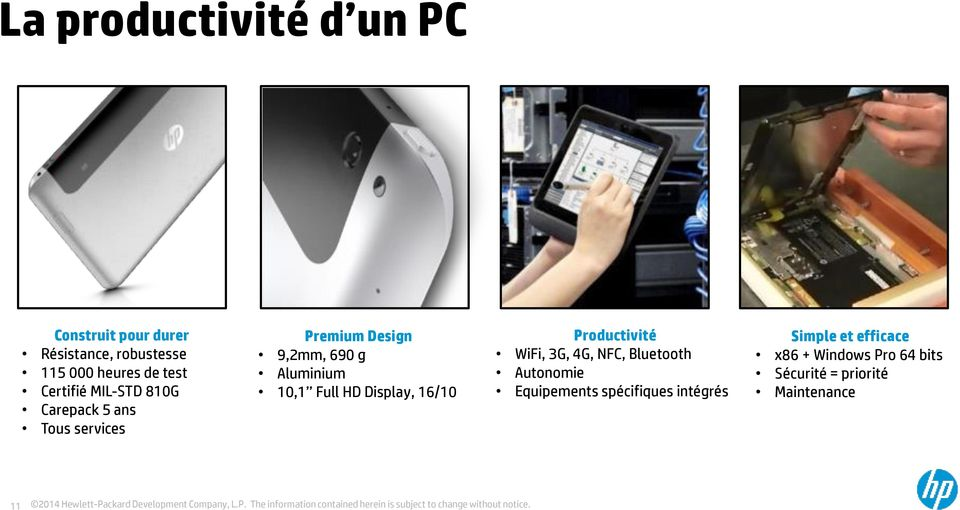 10,1 Full HD Display, 16/10 Productivité WiFi, 3G, 4G, NFC, Bluetooth Autonomie Equipements