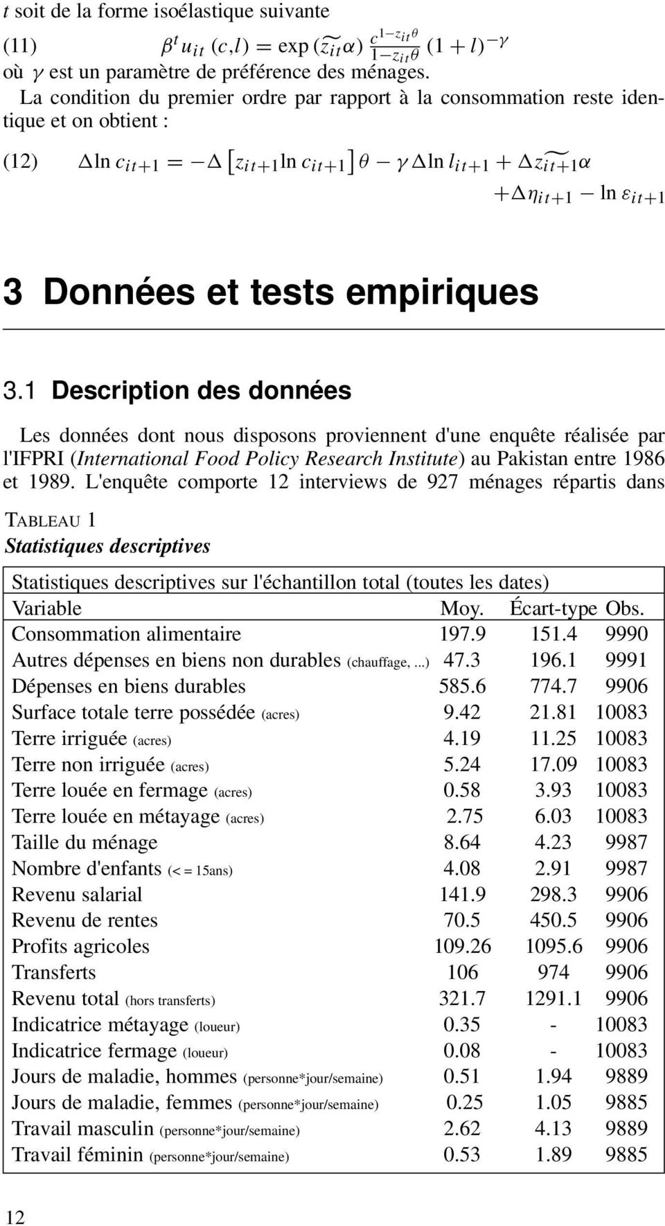 empiriques 3.1 Description des données Les données dont nous disposons proviennent d'une enquête réalisée par l'ifpri International Food Policy Research Institute) au Pakistan entre 1986 et 1989.