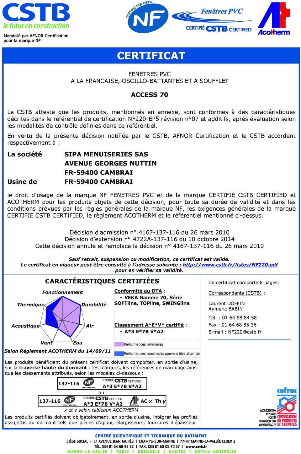En vertu de la présente décision notifiée par le CSTB, AFNOR Certification et le CSTB accordent respectivement à : La société Usine de SIPA MENUISERIES SAS AVENUE GEORGES NUTTIN FR-59400 CAMBRAI