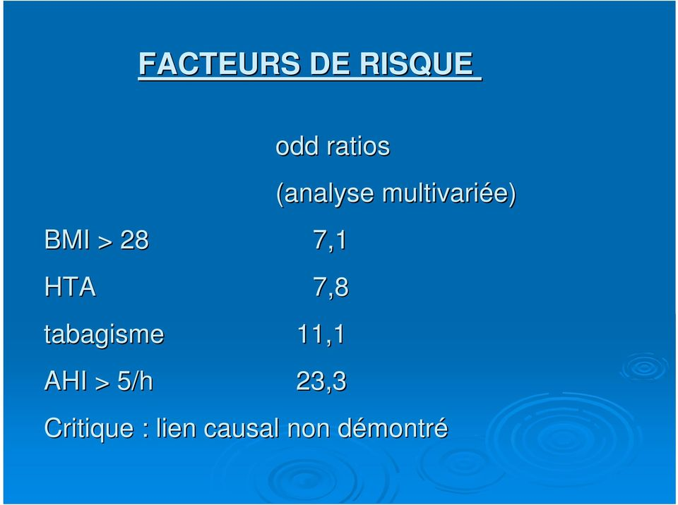 5/h 23,3 (analyse multivariée)