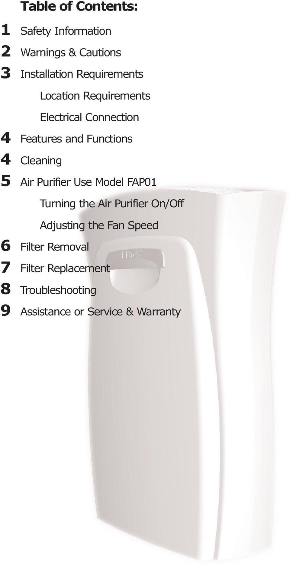 Functions Cleaning Air Purifier Use Model FAP01 Turning the Air Purifier On/Off