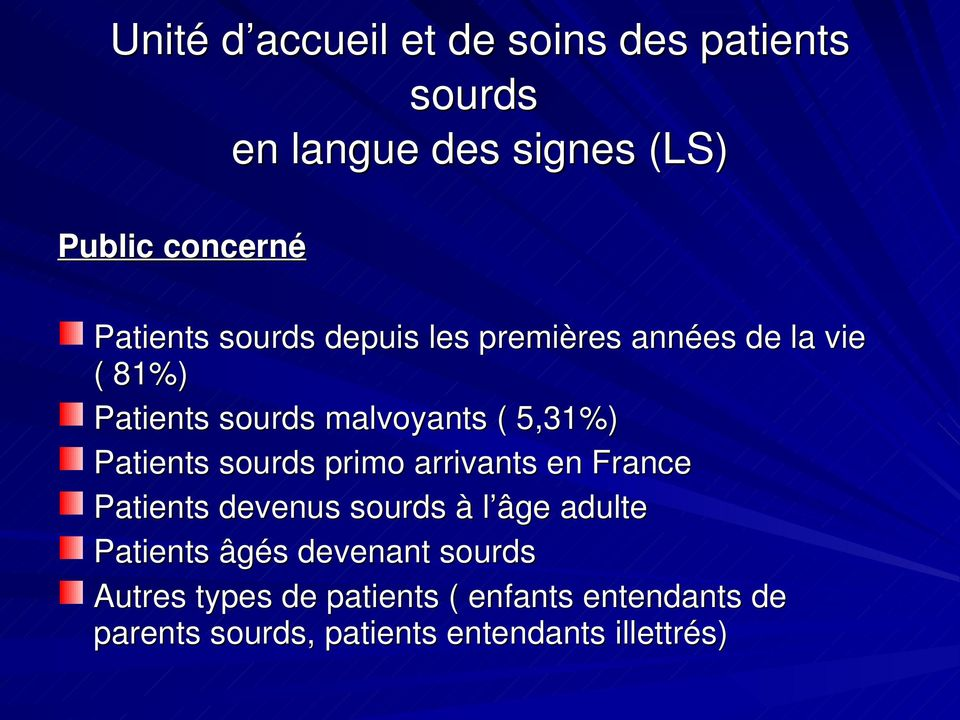 sourds primo arrivants en France Patients devenus sourds à l âge adulte Patients âgés devenant