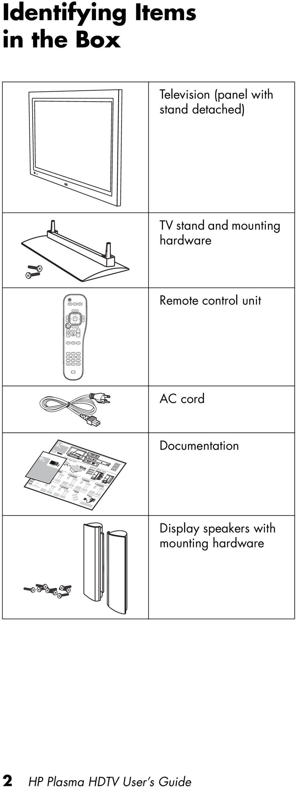 detached) TV stand and mounting hardware Remote control unit Aspect AC cord