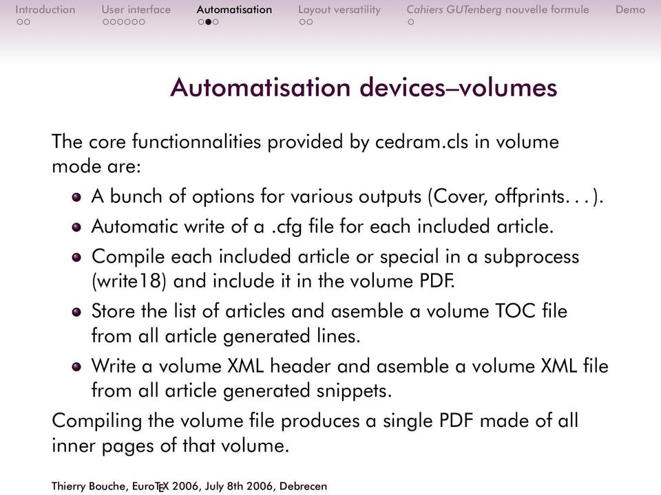 Compile each included article or special in a subprocess (write18) and include it in the volume PDF.