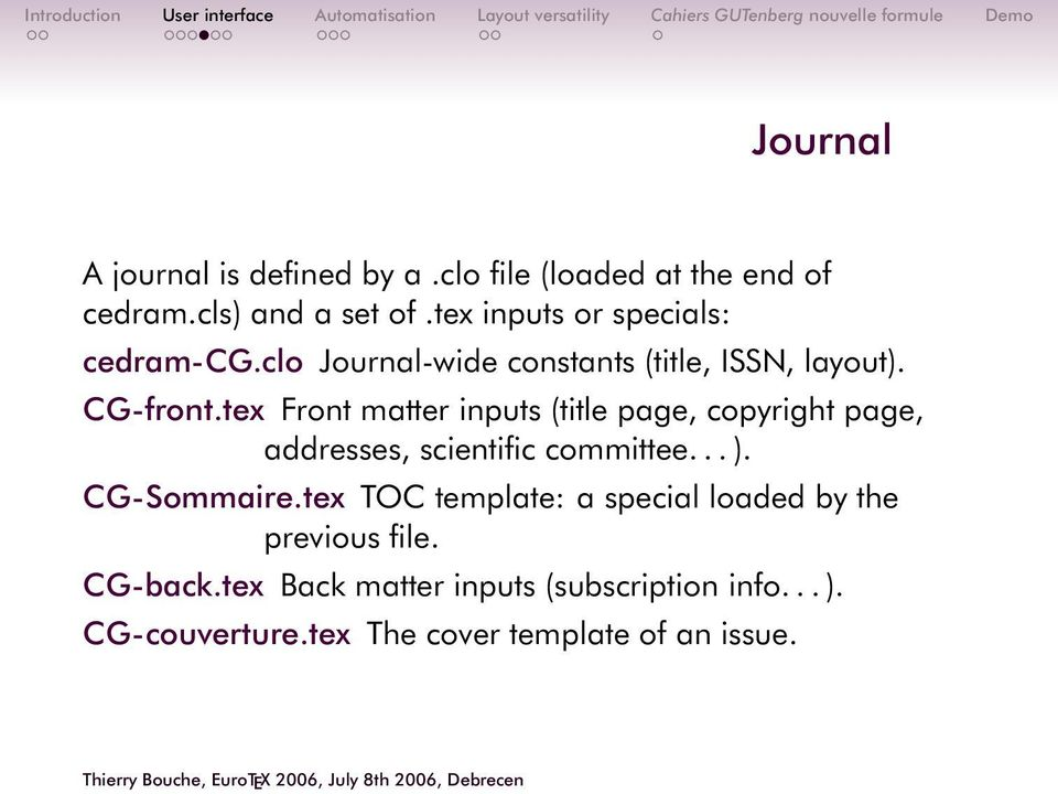 tex Front matter inputs (title page, copyright page, addresses, scientific committee... ). CG-Sommaire.