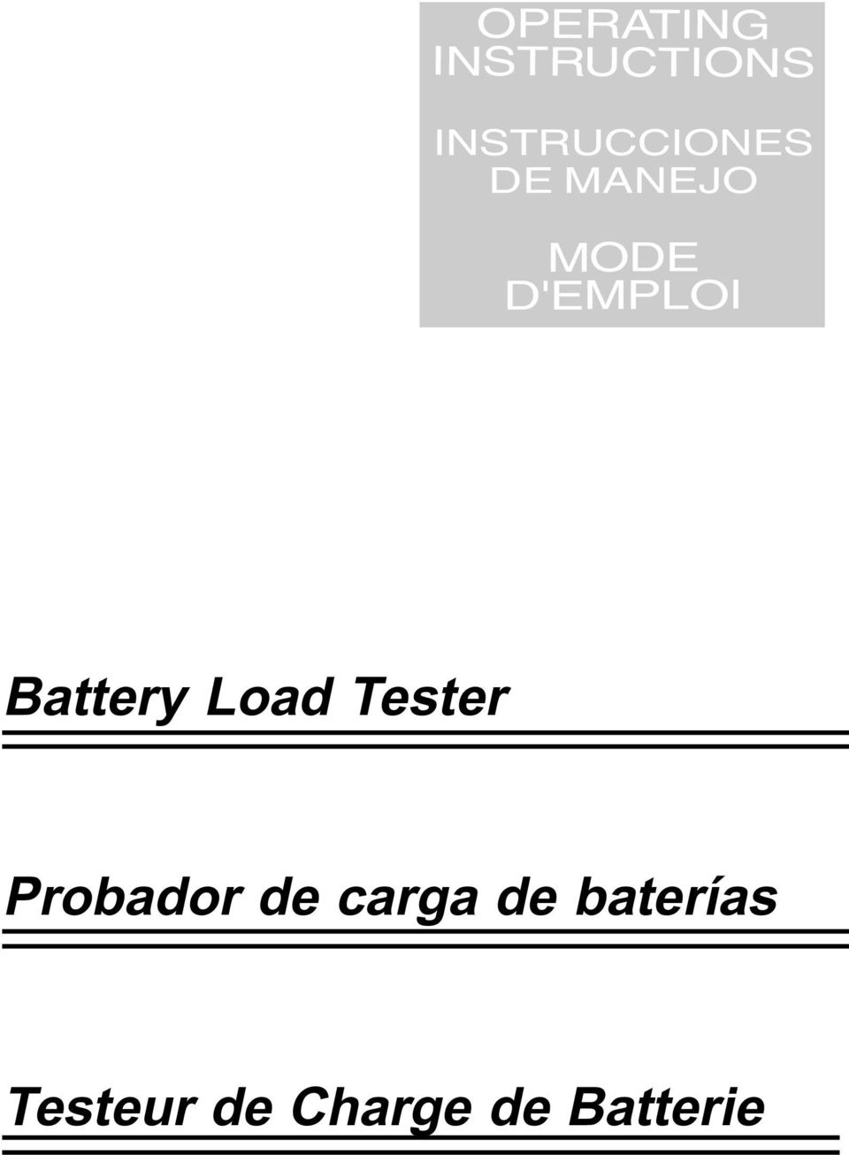 D'EMPLOI Battery Load Tester