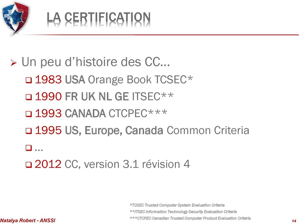 1 révision 4 *TCSEC Trusted Computer System Evaluation Criteria **ITSEC Information