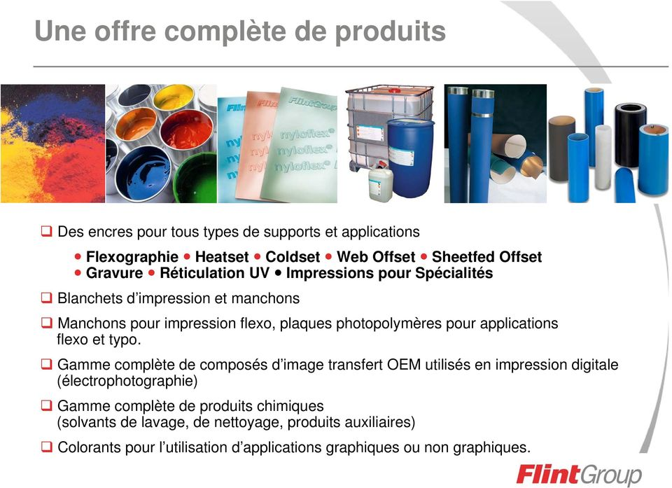 pour applications flexo et typo.