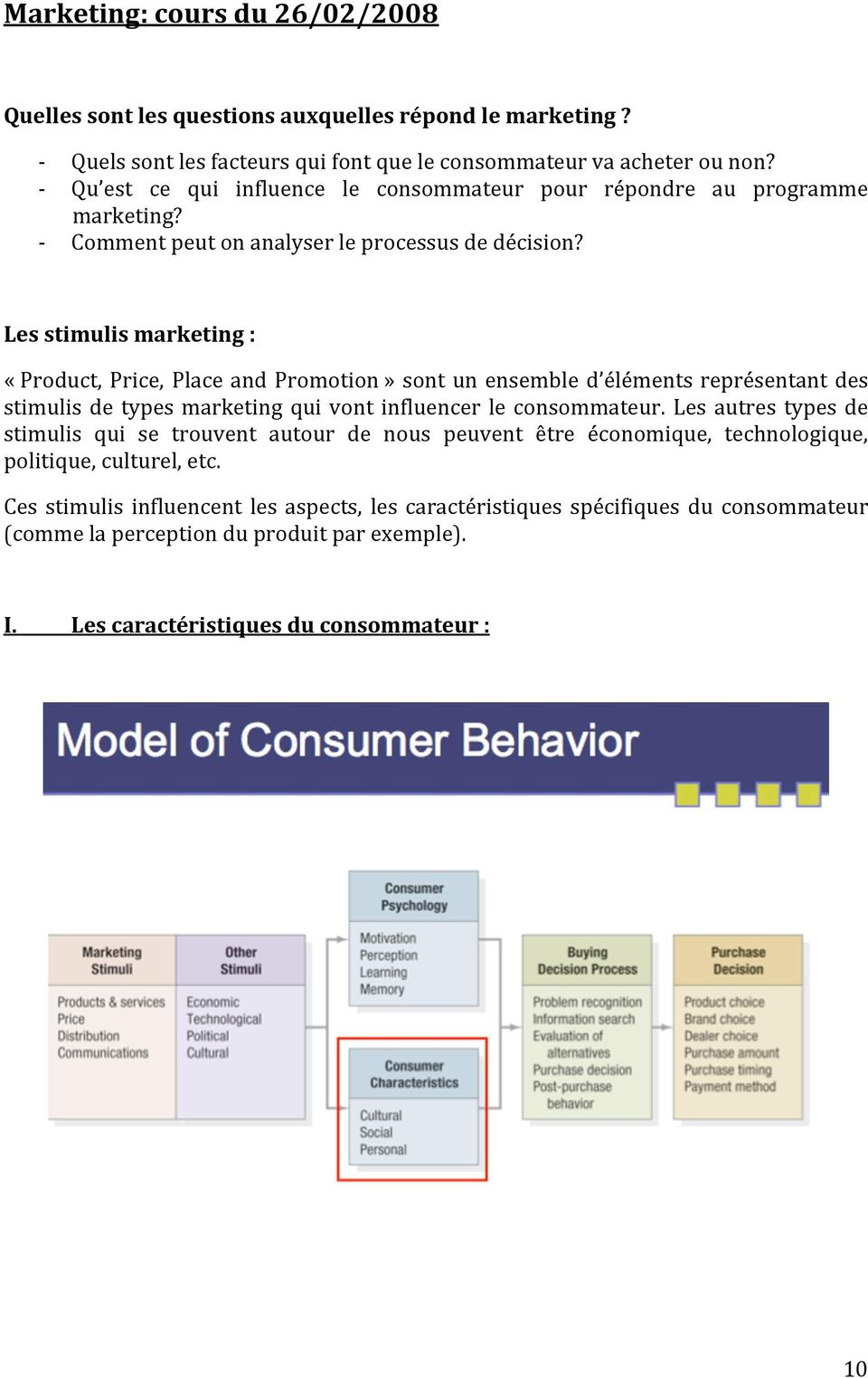 Lesstimulismarketing: «Product,Price,PlaceandPromotion»sontunensembled élémentsreprésentantdes stimulis de types marketing qui vont influencer le consommateur.
