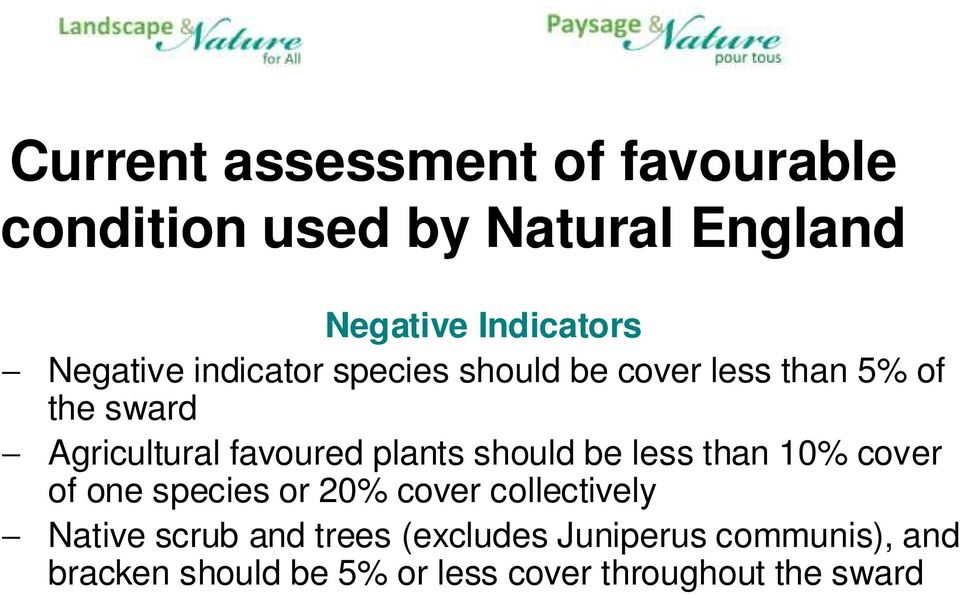 plants should be less than 10% cover of one species or 20% cover collectively Native scrub