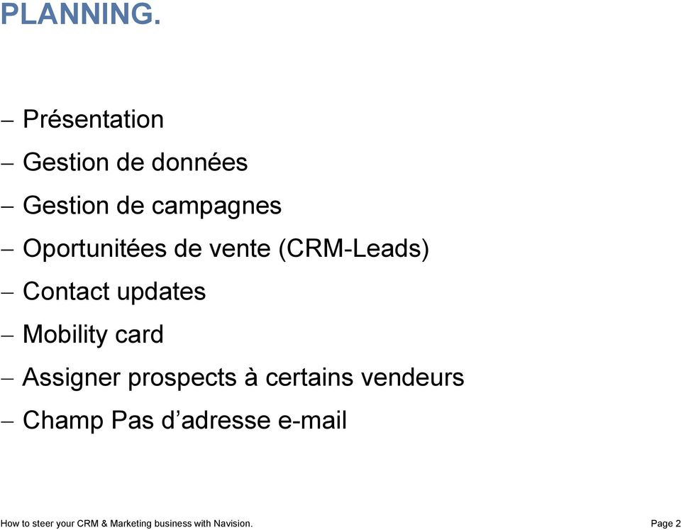 Oportunitées de vente (CRM-Leads) Contact updates Mobility card