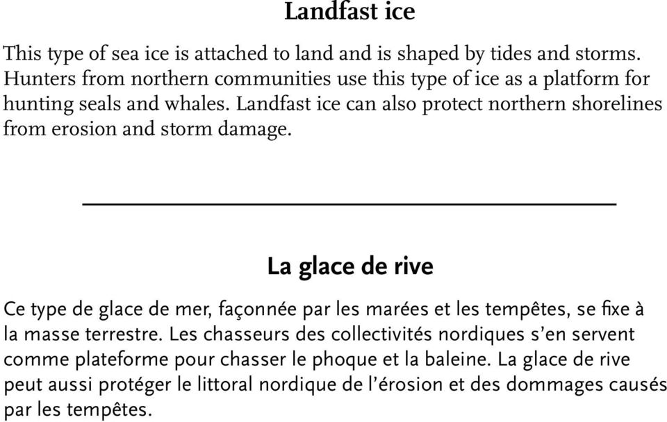 Landfast ice can also protect northern shorelines from erosion and storm damage.