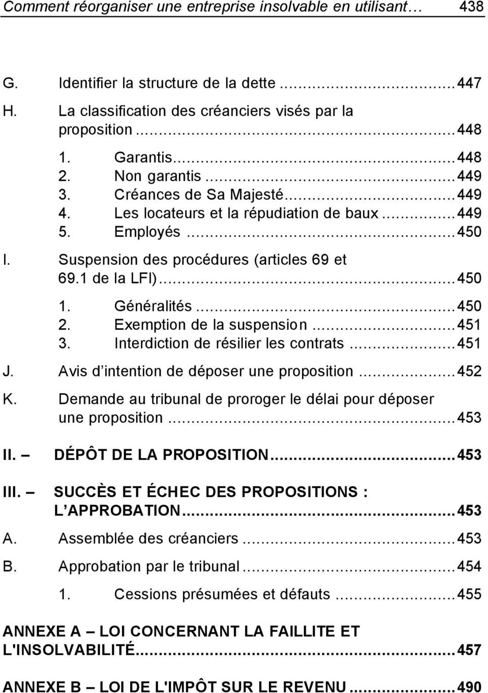 ..450 2. Exemption de la suspension...451 3. Interdiction de résilier les contrats...451 J. Avis d intention de déposer une proposition...452 K.