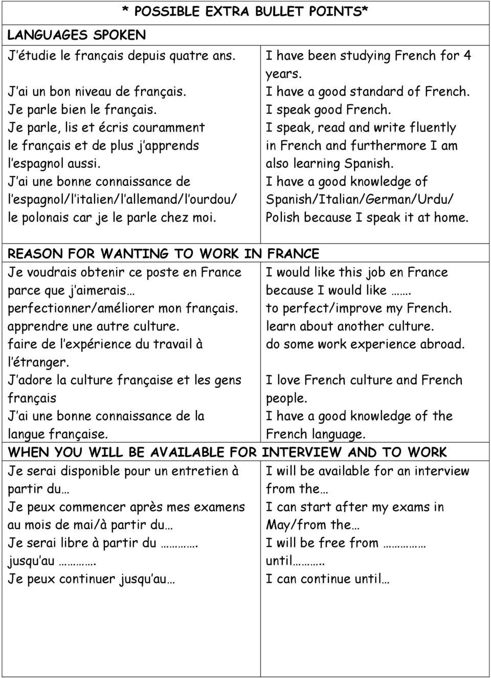 I have been studying French for 4 years. I have a good standard of French. I speak good French. I speak, read and write fluently in French and furthermore I am also learning Spanish.