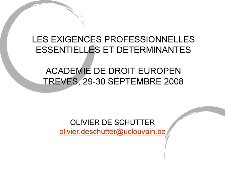 DROIT EUROPEN TREVES, 29-30 SEPTEMBRE