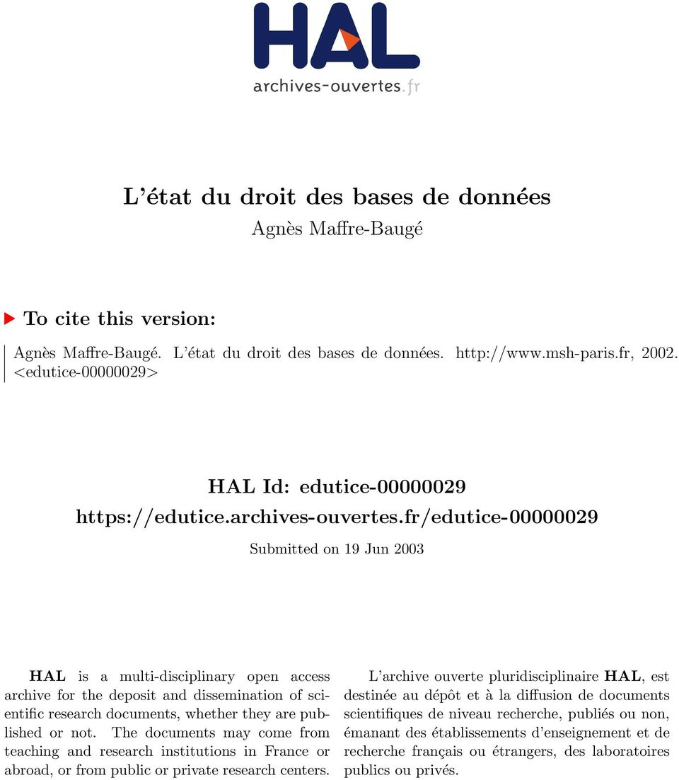 fr/edutice-00000029 Submitted on 19 Jun 2003 HAL is a multi-disciplinary open access archive for the deposit and dissemination of scientific research documents, whether they are published or not.