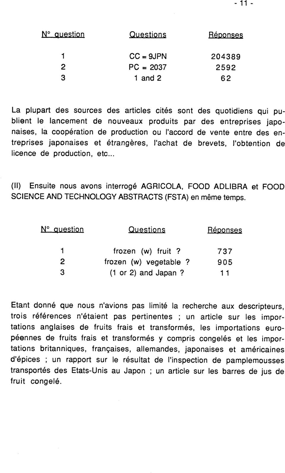 .. (II) Ensuite nous avons interroge AGRICOLA, FOOD ADLIBRA et FOOD SCIENCE AND TECHNOLOGY ABSTRACTS (FSTA) en meme temps. N questipn Questions Reponses 2 3 frozen (w) fruit? frozen (w) vegetable?