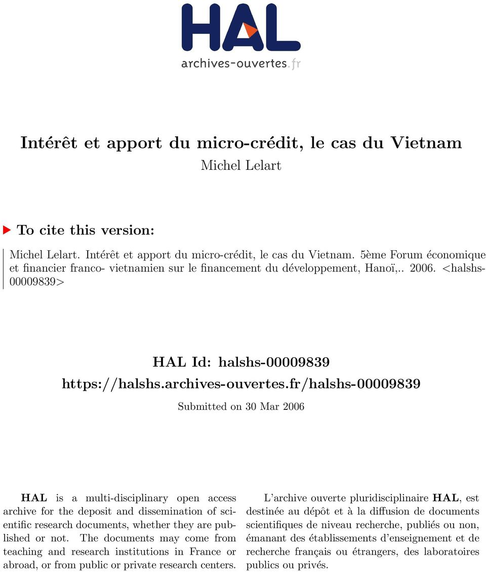 fr/halshs-00009839 Submitted on 30 Mar 2006 HAL is a multi-disciplinary open access archive for the deposit and dissemination of scientific research documents, whether they are published or not.
