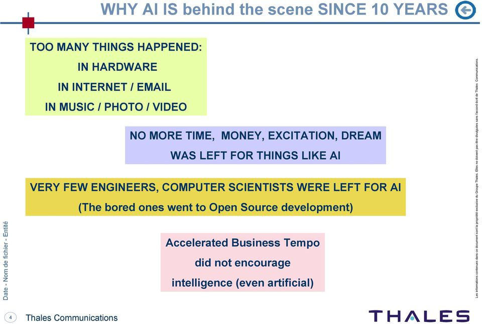 ones went to Open Source development) Accelerated Business Tempo did not encourage intelligence (even artificial) Les informations