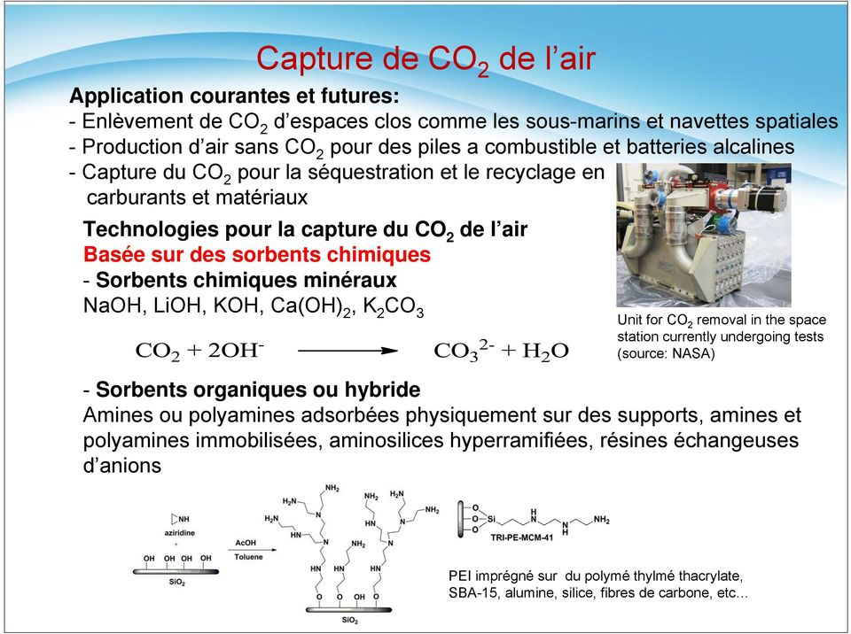 chimiques minéraux NaOH, LiOH, KOH, Ca(OH) 2, K 2 CO 3 Unit for CO 2 removal in the space station currently undergoing tests (source: NASA) - Sorbents organiques ou hybride Amines ou polyamines