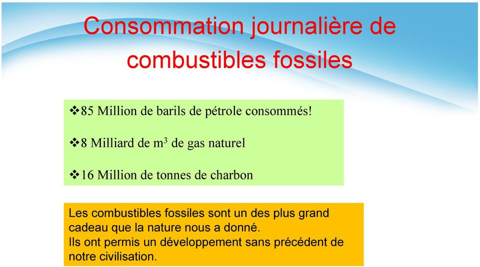 8 Milliard de m 3 de gas naturel 16 Million de tonnes de charbon Les