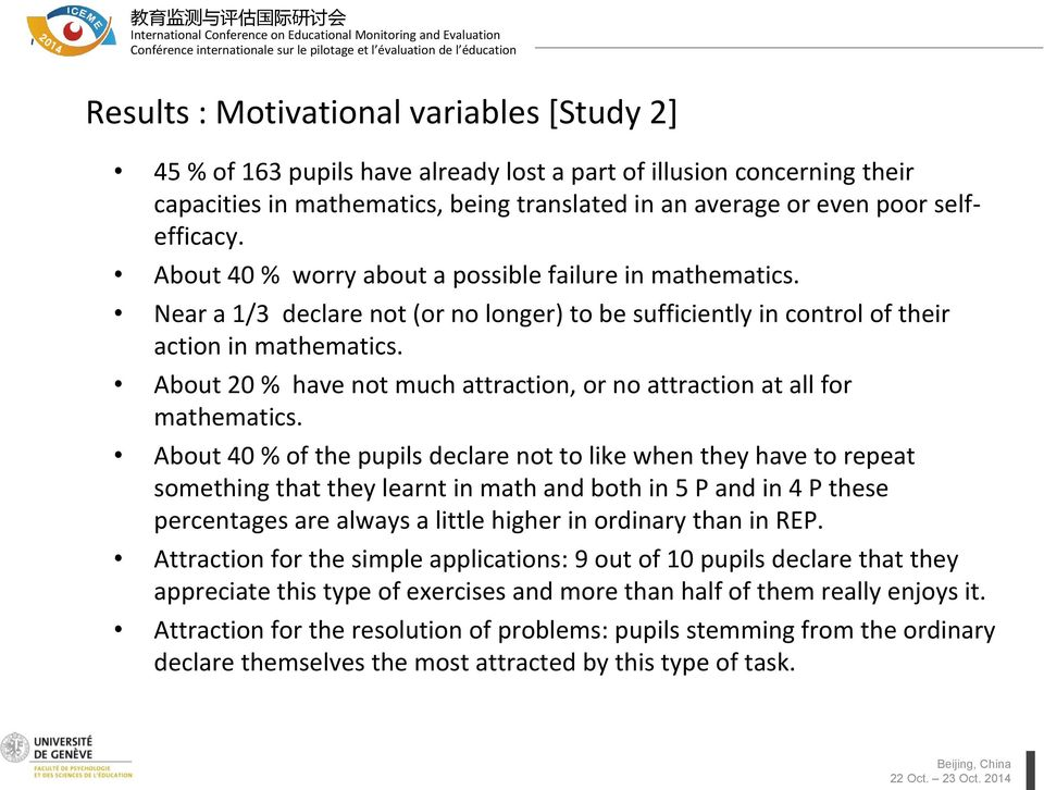 About 20 % have not much attraction, or no attraction at all for mathematics.