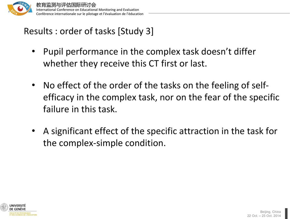 No effect of the order of the tasks on the feeling of selfefficacy in the complex task, nor