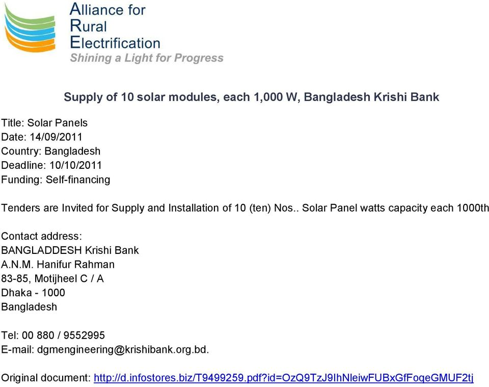 . Solar Panel watts capacity each 1000th Contact address: BANGLADDESH Krishi Bank A.N.M.