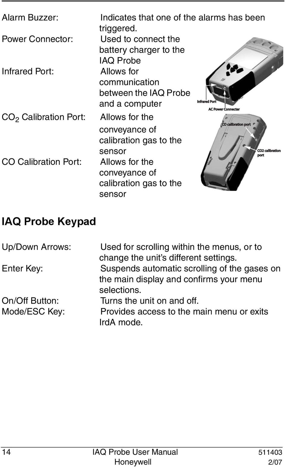 calibration gas to the sensor Allows for the conveyance of calibration gas to the sensor CO2 calibration port IAQ Probe Keypad Up/Down Arrows: Enter Key: On/Off Button: Mode/ESC Key: Used for