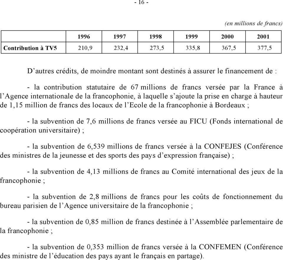 locaux de l Ecole de la francophonie à Bordeaux ; - la subvention de 7,6 millions de francs versée au FICU (Fonds international de coopération universitaire) ; - la subvention de 6,539 millions de