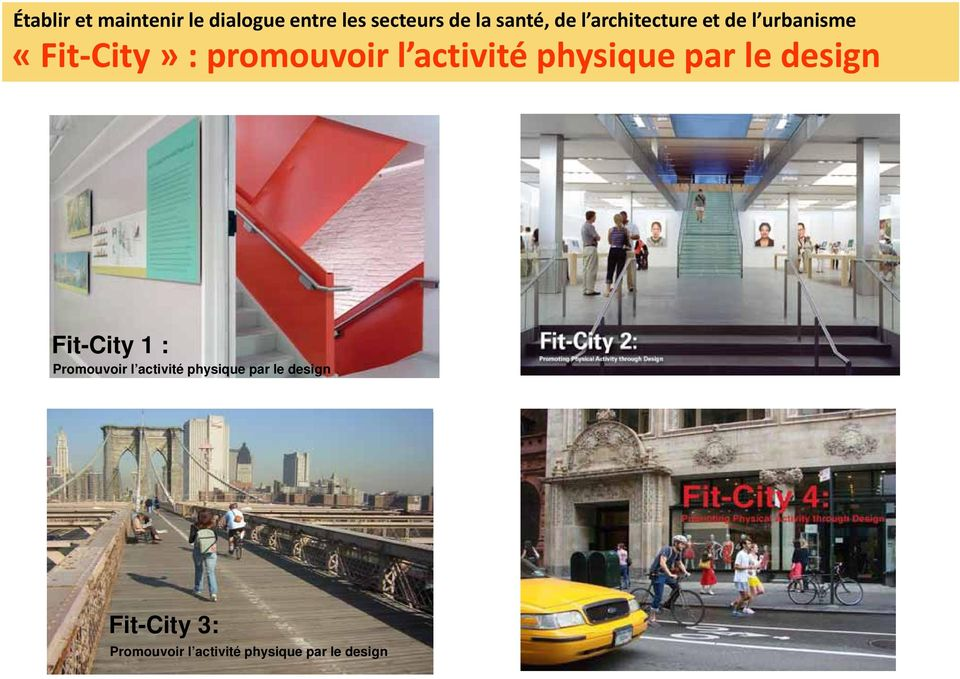 physique par le design A Strategy to Open Dialogue with Planning and Design Communities Fit-City