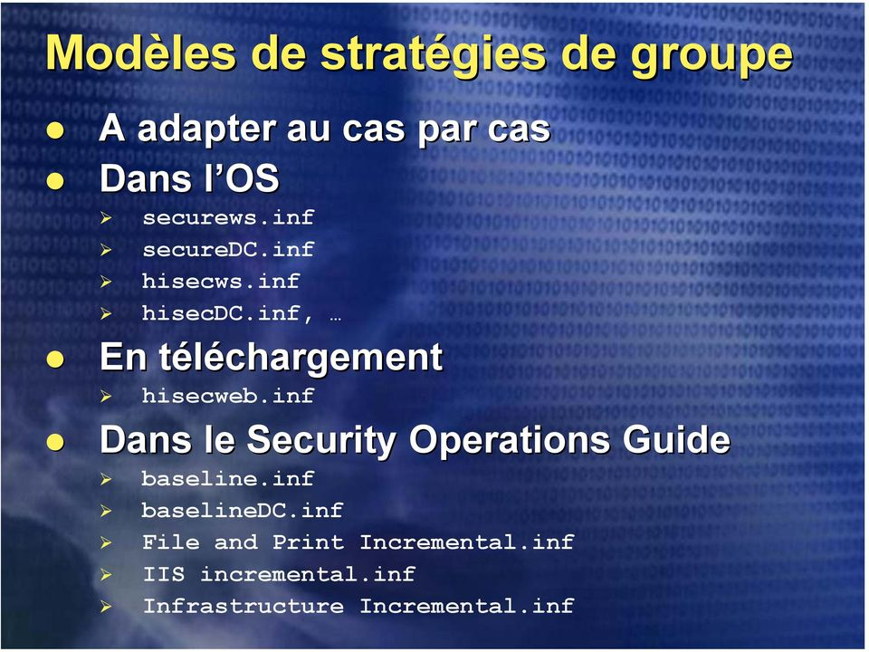 inf Dans le Security Operations baseline.inf baselinedc.