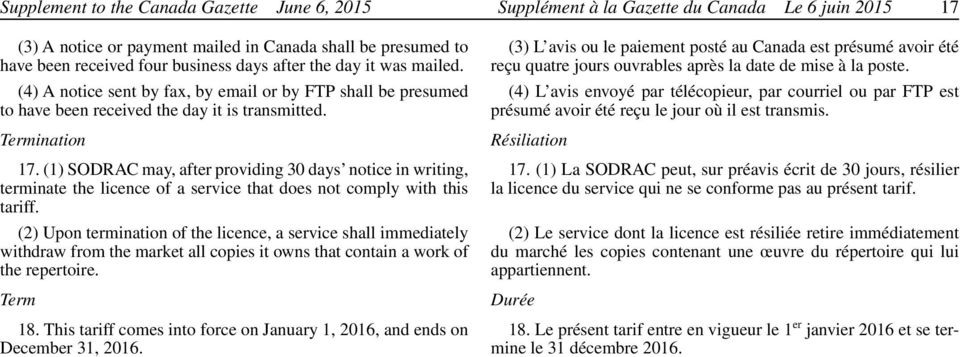 (1) SODRAC may, after providing 30 days notice in writing, terminate the licence of a service that does not comply with this tariff.