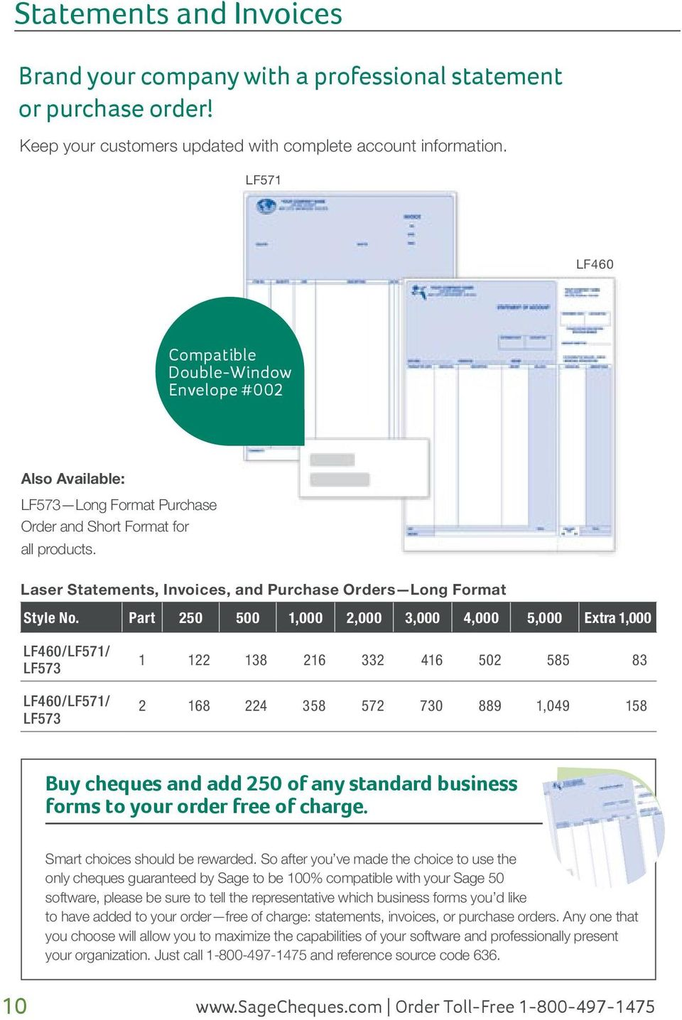 Laser Statements, Invoices, and Purchase Orders Long Format Style No.
